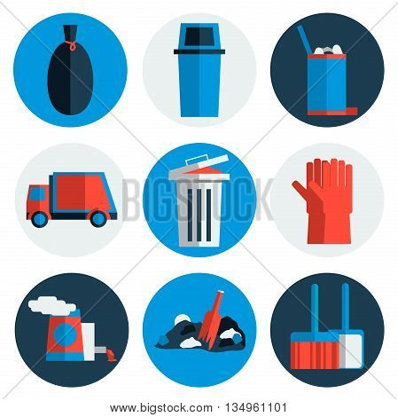 Garbage icons flat set with dumpster trash bin cleaning bulldozer isolated vector illustration