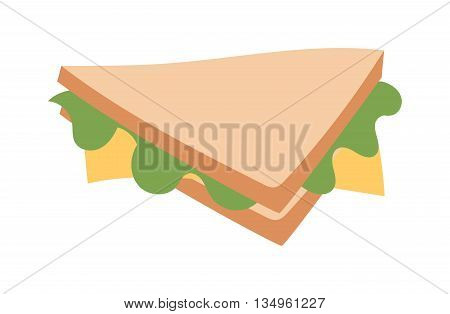 Ham and vegetable sandwich vector illustration. Breakfast fresh sandwich delicious vegetable, bacon slice. Delicious baguette big sandwich breakfast fresh, cheese, meal healthy fast food.