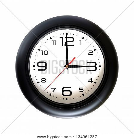 Big round wall clock, with a black rim isolated on white background close-up and arrows showing three o'clock