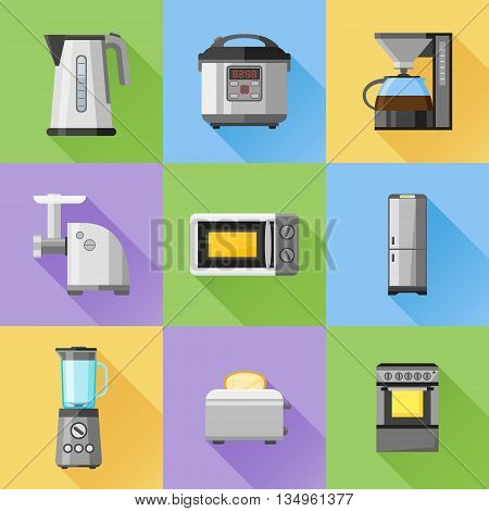 Set of household appliances flat icons. Coffee maker, kettle, multicooker, microwave oven, refrigerator, stove, meat grinder, blender, toaster. Vector illustration.