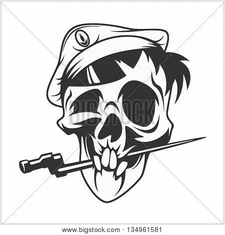 military skull bite a dagger on white