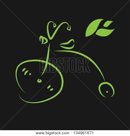 Green eco bike on a dark background