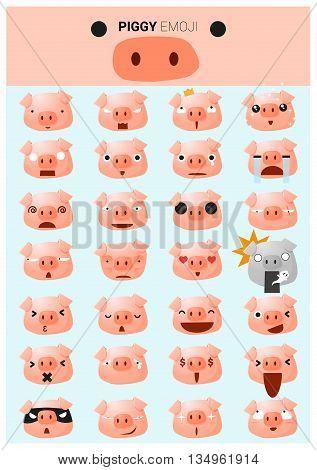 Piggy emoji icons , vector , illustration