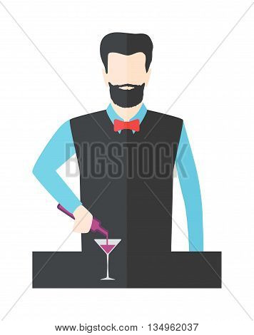 Bartender barman making cocktails at bar counter.