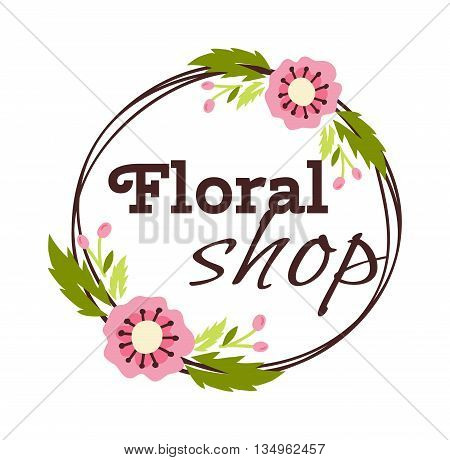 Bright logo for flower shop. Hand drawn emblems and floral signs for flower shop. Flower shop labels. Doodles, sketch floral and gardening logos and signs trendy linear style emblems flower shop.