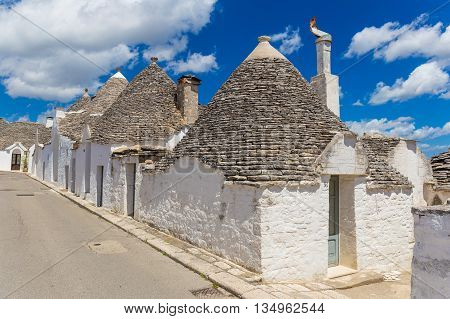 Beautiful town of Alberobello with trulli houses out of main turistic district Apulia region Southern Italy