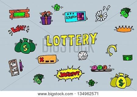 Lottery icons set. Vector illustration, EPS 10