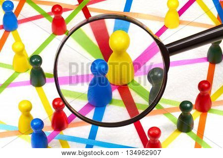 Colorful ribbons create a network on a white background.