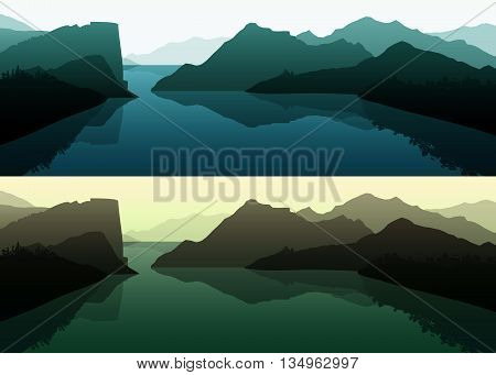 Nature landscape. Summer landscape of nature. Landscape mountain forest and lake.