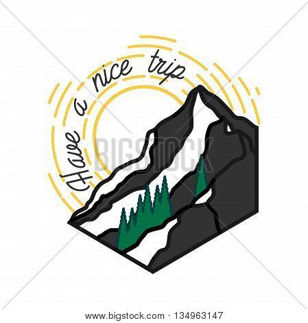 Mounitains color emblem. Ski Resort vintage logo. Mountain downhill, extreme patrol.