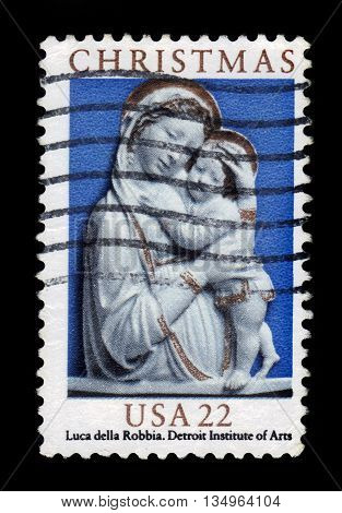 USA - CIRCA 1985: A stamp printed in USA shows Madonna and child by Lucca Della Robbia, Detroit Institute of Arts, christmas, circa 1985