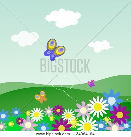 The landscape with flowers and a butterflies