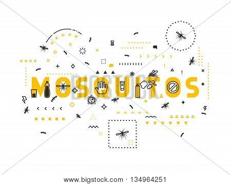 Design concept mosquitos. Modern line style illustration. Concepts of words mosquitos, style thin line art, design banners for website and mobile website. Easy to edit.