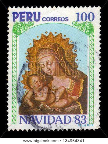 PERU - CIRCA 1983: A stamp printed in Peru shows Madonna and child, christmas, circa 1983