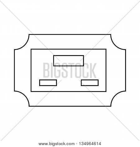 Cinema ticket icon in outline style on a white background