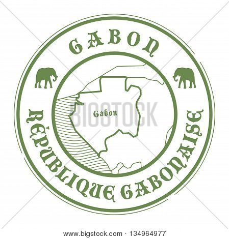 Grunge rubber stamp with the name and map of Gabon, vector illustration