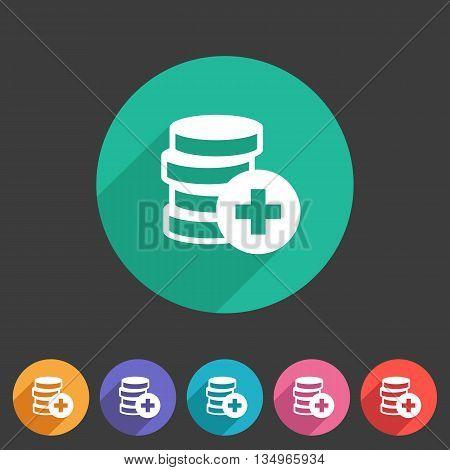 Add money coins wallet icon flat web sign symbol logo label set