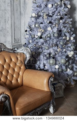Christmas living room with tree. Blue toned. Happy Holiday.