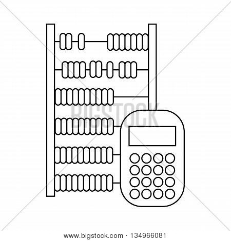 Abacus and calculator icon in outline style on a white background