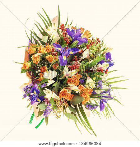 Bouquet Of Nerine, Iris, Alstroemeria, Roses And Other Flowers.