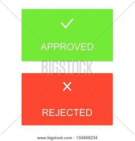 Approved rejected interface dialog box icons icon flat web sign symbol logo label set