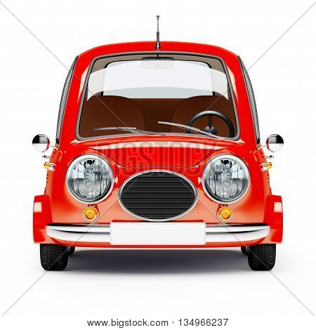 round small car front view in retro style isolated on a white background. 3d illustration.
