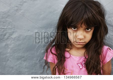 Little Girl With Serious Expression