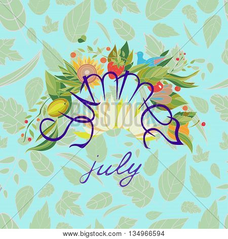 Summer july lettering with flowers and berries on a blue pattern background