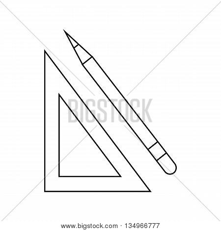 Triangular ruler and pencil icon in outline style on a white background