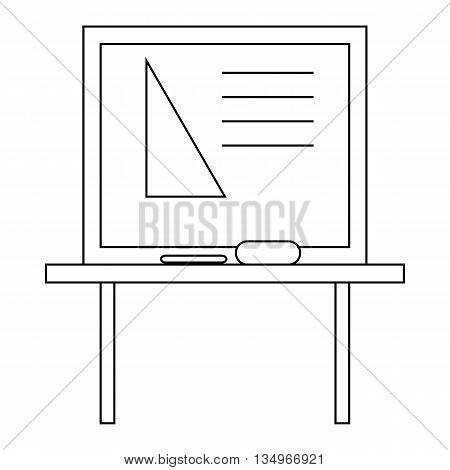 Triangle on a school blackboard icon in outline style on a white background