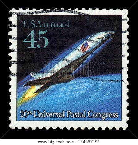 USA - CIRCA 1989: a stamp printed in USA shows spacecraft, future mail transportation, 20th Universal Postal Union Congress, circa 1989;