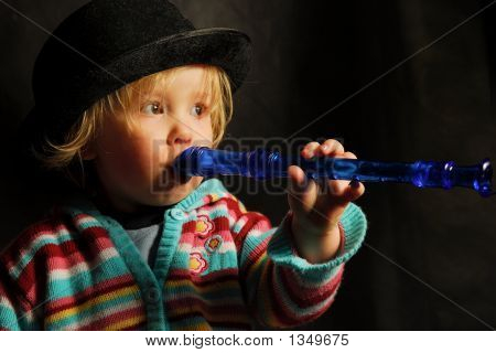 Blong Toddler With Blue Flute