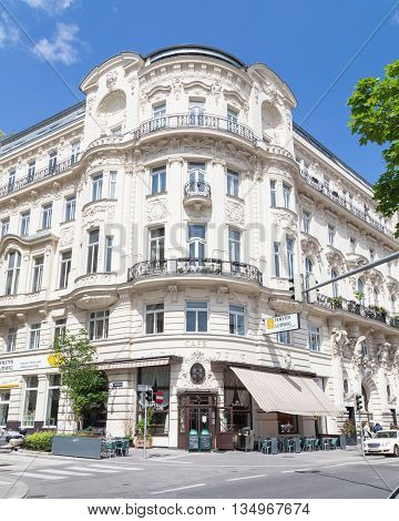 VIENNA AUSTRIA - 15TH MAY 2016: The outside of coffee shops and buildings in Vienna during the day.