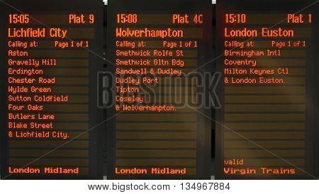 Train destination boards in New Street railway station Birmingham England UK Western Europe.