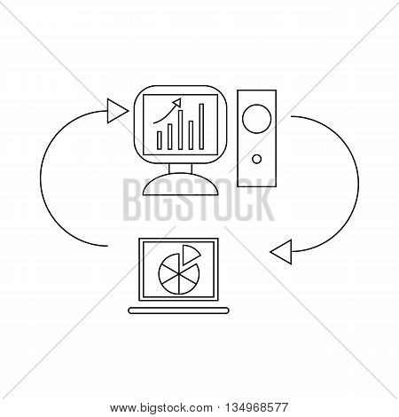 Two laptops with chart and graph, data exchange icon in outline style on a white background