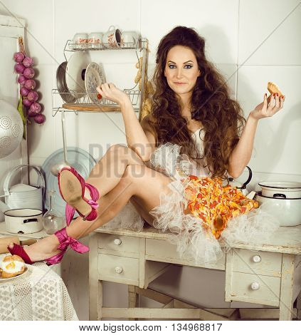 crazy real woman housewife on kitchen interior, eating perfoming, bizare girl bright makeup