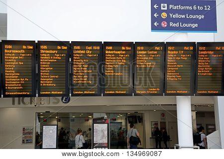 BIRMINGHAM, UNITED KINGDOM - JUNE 6, 2016 - Train destination boards in New Street railway station Birmingham England UK Western Europe, June 6, 2016.