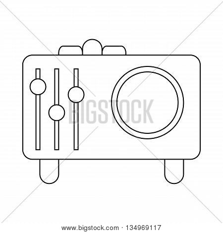 Retro style radio receiver icon in outline style on a white background