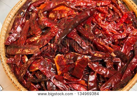 Dried red chilli peppers at the largest spice market of Asia
