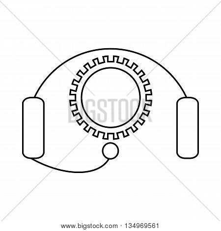 Cogwheel and headset icon in outline style on a white background