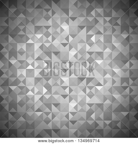Background with Geometric Shapes, Triangles. Old Mosaic. Grey-Mosaic-Banner. Geometric Hipster Grey Pattern with Place for Your Text. Graphic Template Background