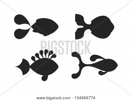 Fish black silhouette water cartoon flat vector. Black silhouette fish animal nature food and black silhouette fish ecology environment. Fish black silhouette icon isolated on white