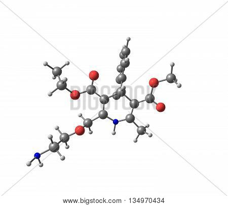 Amlodipine is a medication used to lower blood pressure and prevent chest pain. 3d illustration