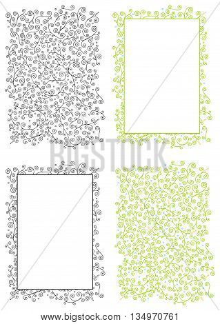 Hand-drawn doodle floral background and a frame with abstract curvy herbal elements both in black and white and in colors