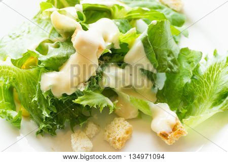 Fresh Green Salad With Spinach Lettuce And Meat On Table