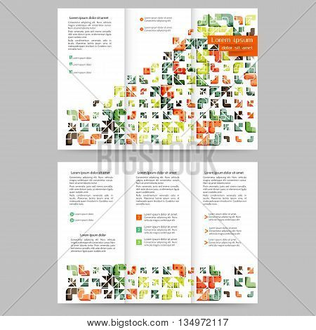 Colored tri fold business brochure design template with geometric elements for your business