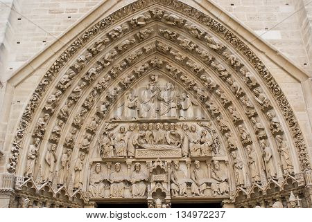 Facade's details of Notre-Dame of Paris Cathedral