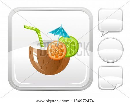 Sea summer beach and travel icon with coconut cocktail on square background and other blank button forms - speaking bubble, circle, sticker
