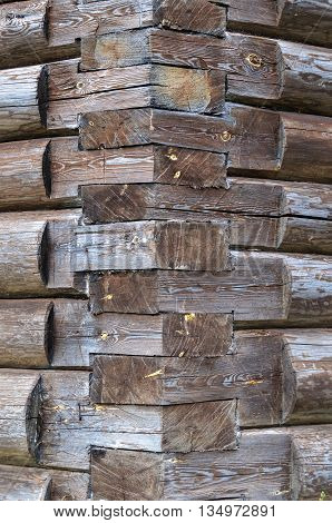 Close up of corner of wooden church
