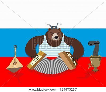 Russian Bear Plays Accordion. Russian Flag. Samovar